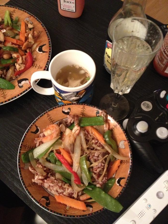 Ginger shrimp, won ton soup, prosecco