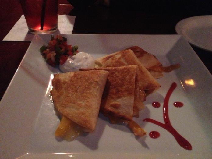mango and brie quesadillas.