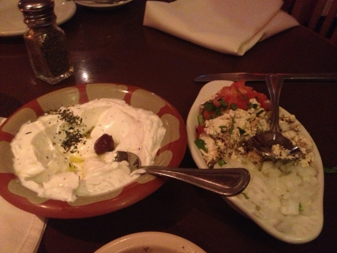 labneh and shanklish (goat yogurt and goat cheese with oregano)