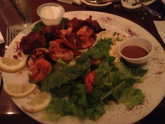 shish, chicken, and shrimp kebab with CREAMED GARLIC and other delights.