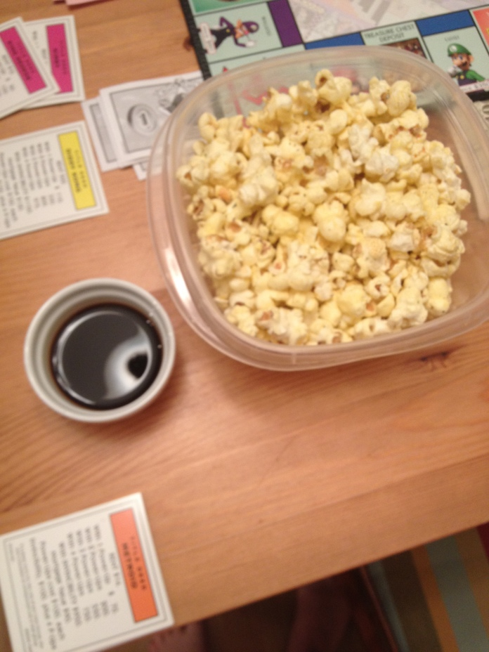 The last of the popcorn.