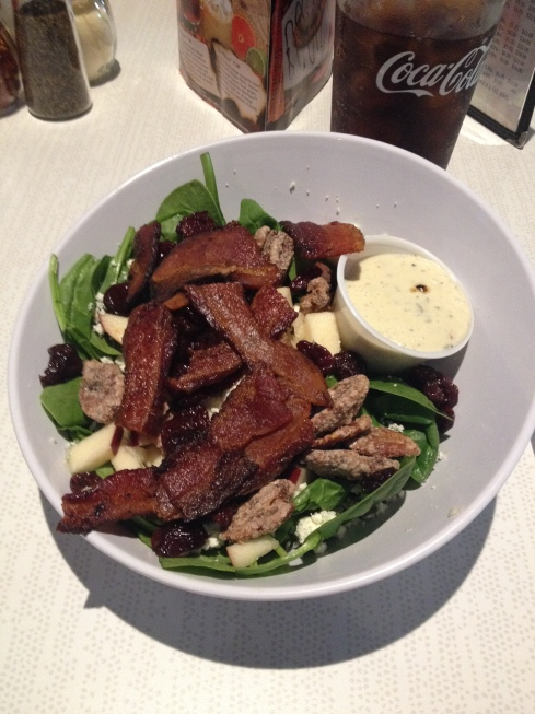 They put a lot of bacon on their spinach salad.