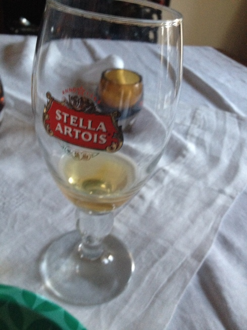 But not Stella, just out of a Stella glass.