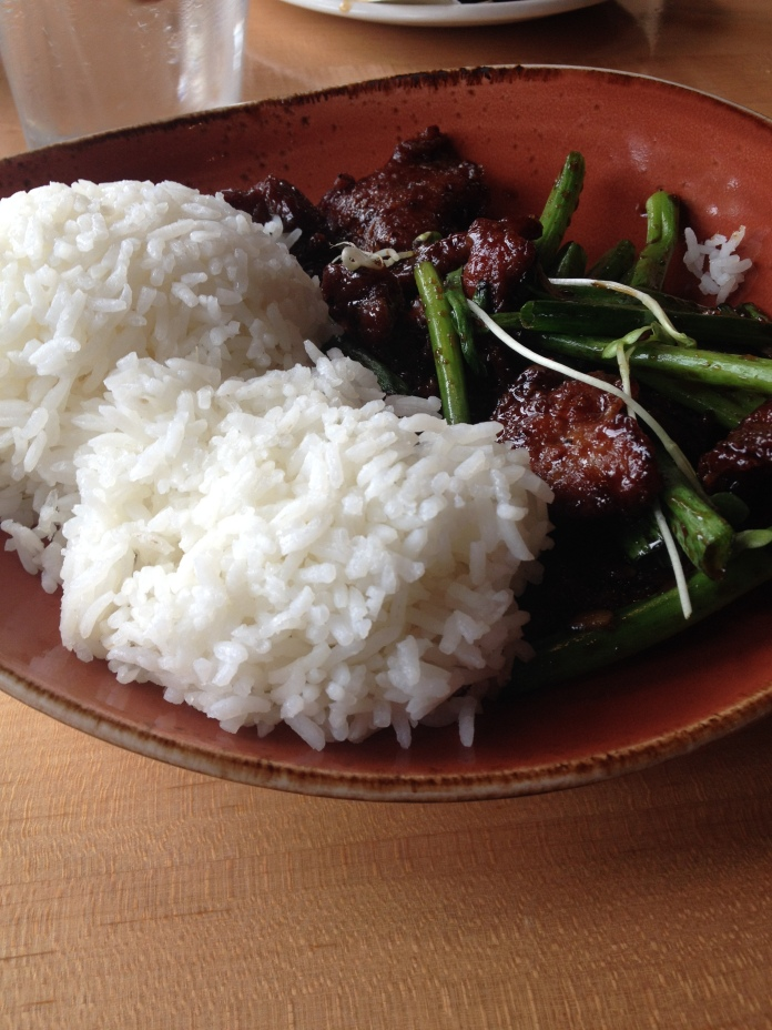 A more reasonable portion of Mongolian beef.