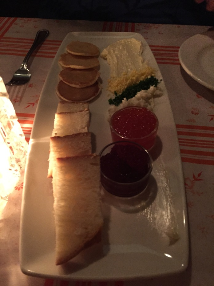 Caviar and blinis.