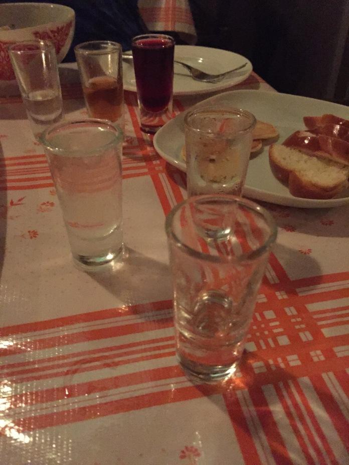 Lots of vodka (including horseradish vodka!)