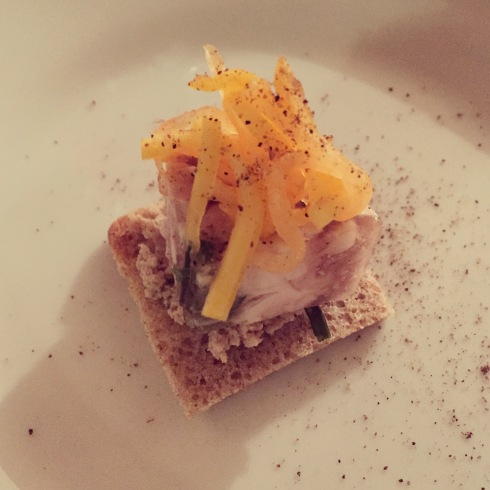 Rabbit Terrine with Pickled Sweet Winter Squash.