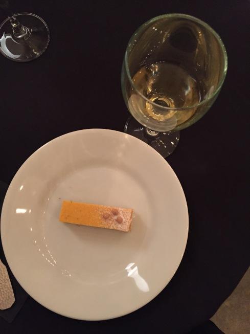 Squash Sunshine Mousse, Chestnut Dacquoise, Pear Gelee, Cremeux, Chiffon with Chateau La Riviere, 2009 Sauternes