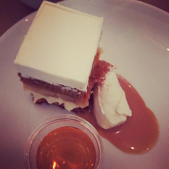 Apple Carrot Cake with Cherve Cheesecake & Apple Pie Filling, Apple Jack Dulce de Leche, Vanilla Bean Creme Fraiche