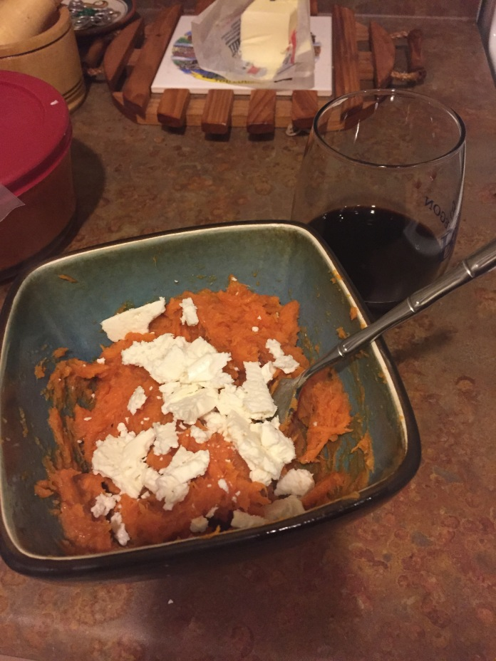 Sweet potato with feta (and wine)
