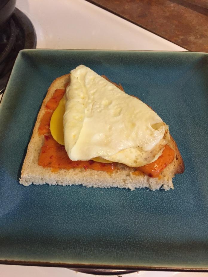Egg on cheese toast
