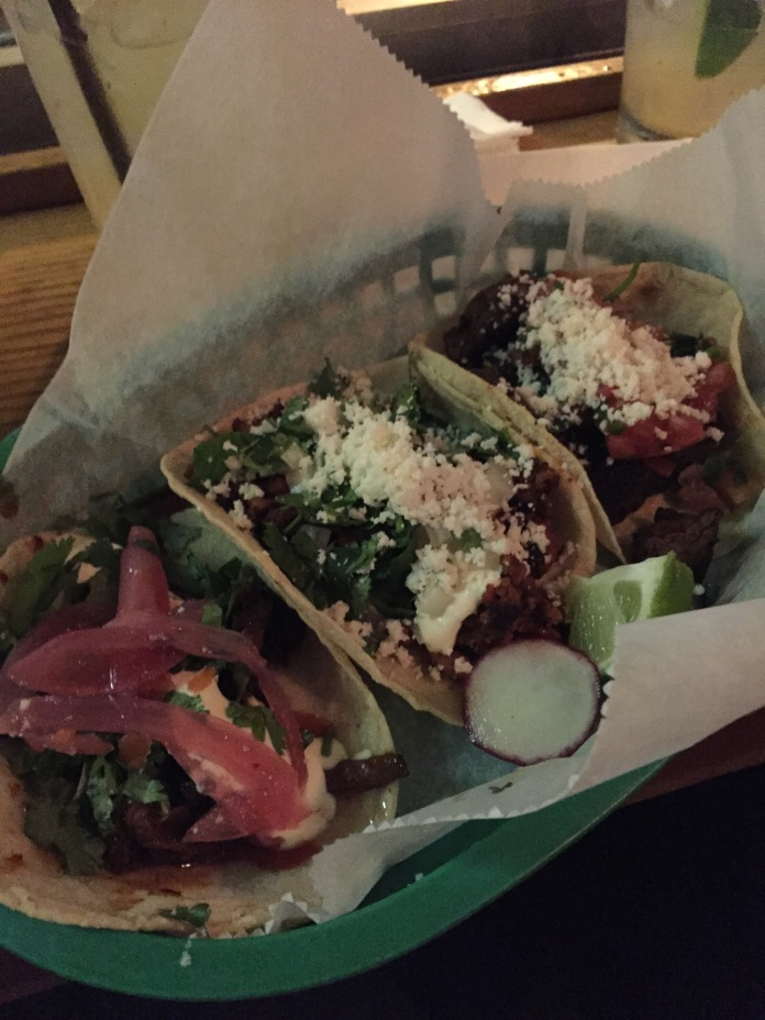 Barbacoa, chorizo, and flank steak tacos. All amazing.