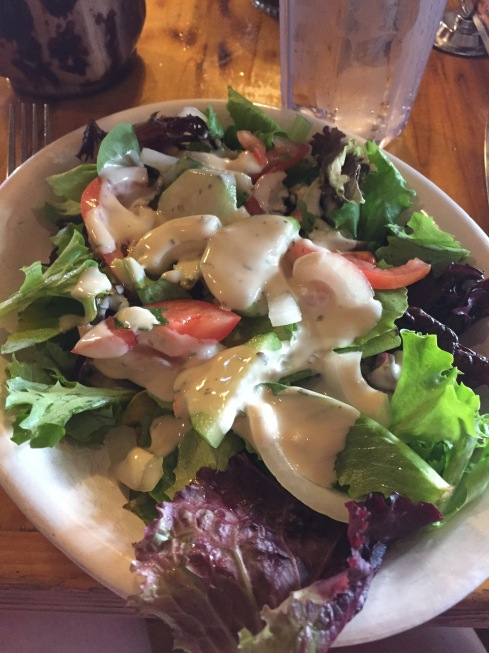 Salad with garlicky dressing.