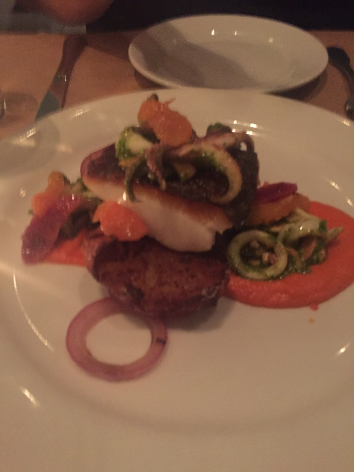 The fish special (cod, I think?) with smoked tomato beurre blanc and calamari and octopus salad.