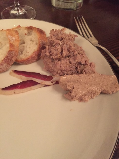 Live mousse, pate, and duck prosciutto (the first two were made in class!)
