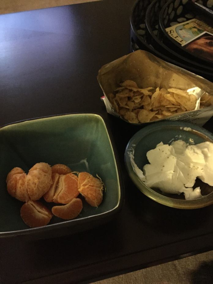 More chips and labneh, plus some clementines.