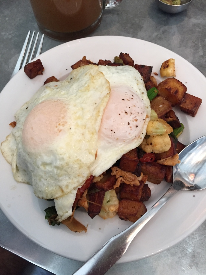 Moroccan Chicken Hash (with an extra egg)