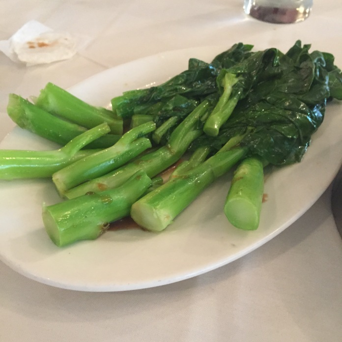 Chinese broccoli, the only vegetable offered.