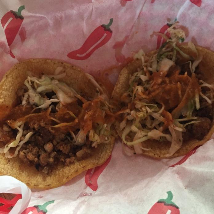 A chorizo taco each