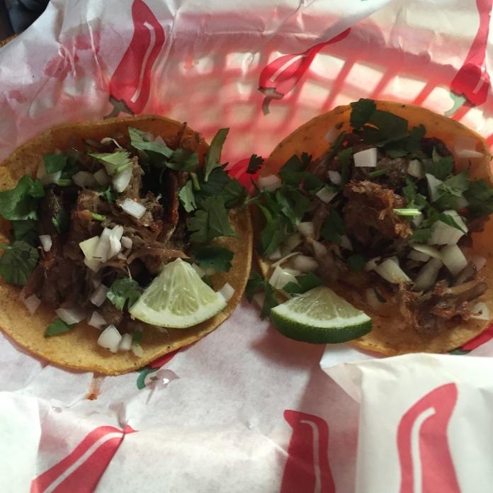 a carnitas taco each,