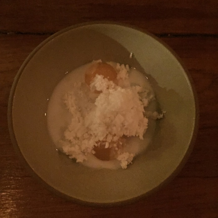 Tapioca, thai melon, coconut cream and coconut granita