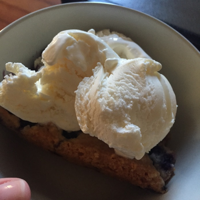 Cobbler and ice cream