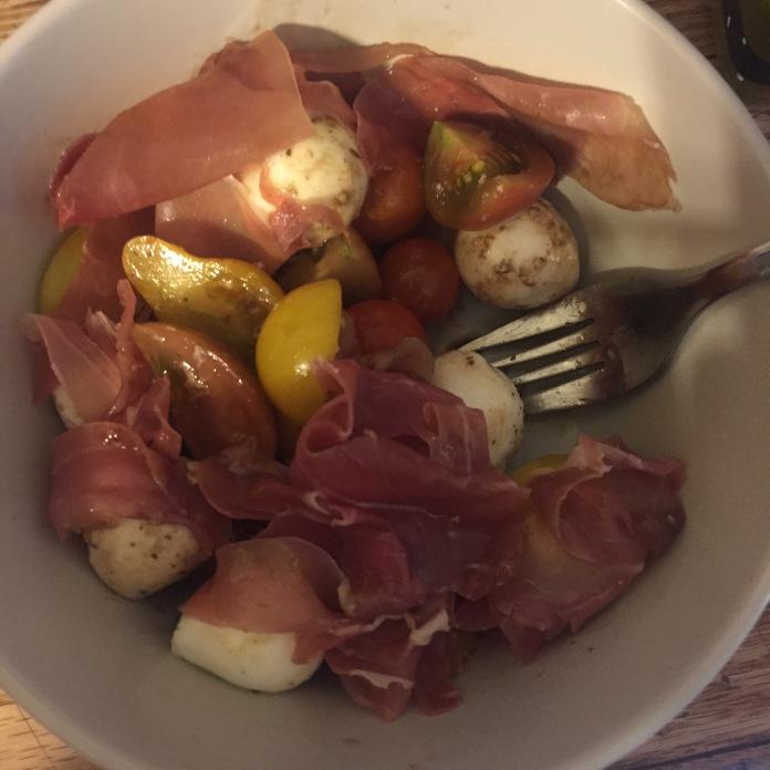 Prosciutto, mozz, and tomatoes!