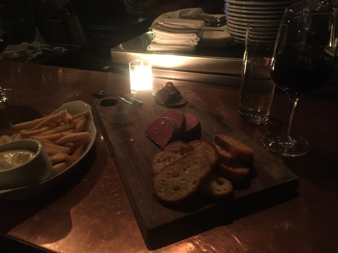 Frites, chicken liver mousse, wine.